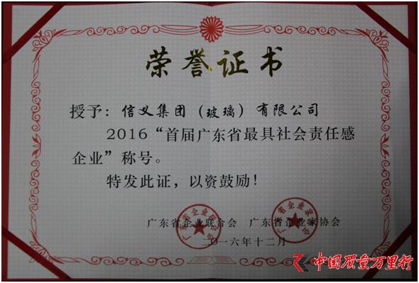"""信义集团(玻璃)有限公司荣获2016""""首届广东省最具社会责任感企业""""称号"""
