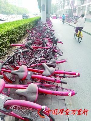 上百辆共享单车堆路边扫码打不开 市民:一地垃圾