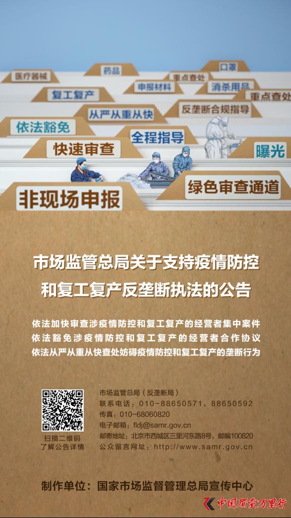 海报�O《市场监管总局关于支持疫情防控和 复工复产反垄断执法的公告》