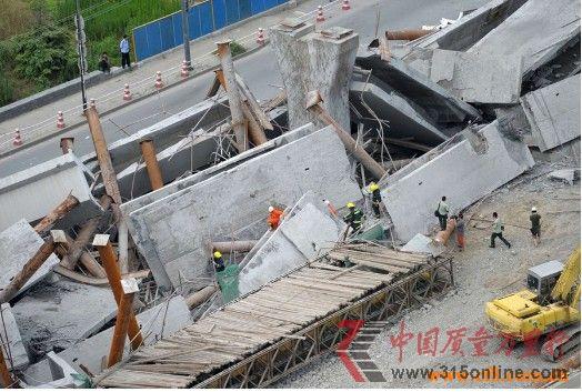 组图:杭州德胜高架桥坍塌